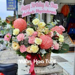 Giỏ hoa tươi Sinh Nhật Cúc mẫu đơn - Cát tường
