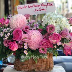 Giỏ hoa Cúc Mẫu Đơn Hồng