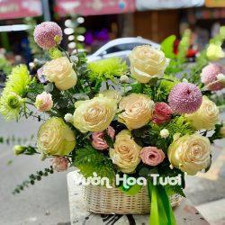 Giỏ hoa tươi khai trương Hoa hồng xanh Lưu ly