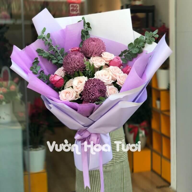 Bó Hoa Cúc Mẫu Đơn Phối Hồng Kem Dâu