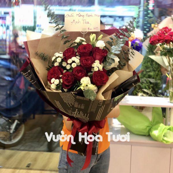 Bó hoa Hồng Ohara đỏ