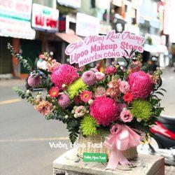 Giỏ hoa tươi Khai Trương Cúc Mẫu Đơn
