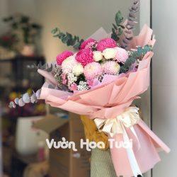 Bó Hoa Cúc mẫu đơn Hồng tone Pastel