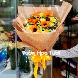 Bó Hoa Hướng Dương Phối Hồng Vàng