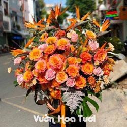 Lẵng Hoa Chúc Mừng Hồng Cam Spirit Thiên Điểu