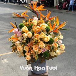 Lẵng hoa tươi Vinh Quang Vươn Xa