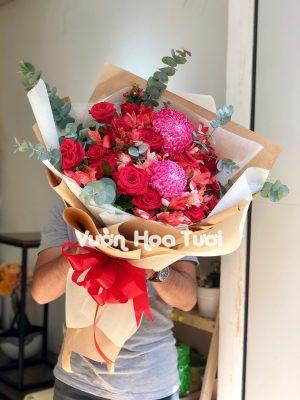 Bó hoa Cúc Mẫu Đơn Hồng Đỏ