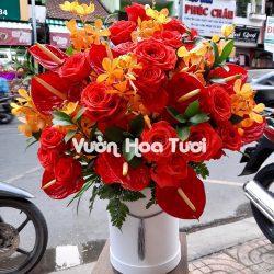 Lẵng Hoa Khai Trương - Hồng đỏ mix Hồng Môn