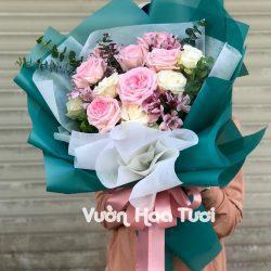 Bó hoa hồng Ohara Hồng mix Hoa Thuỷ Tiên-BHT30
