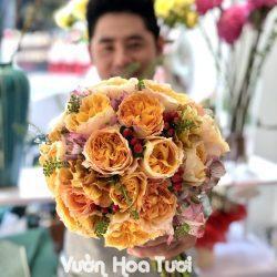 Bó hoa cưới hồng Juliet cam