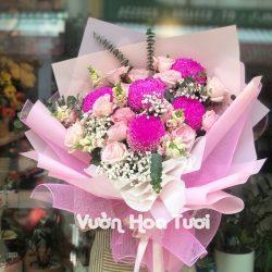 Bó hoa Cúc mẫu đơn Hồng Ohara