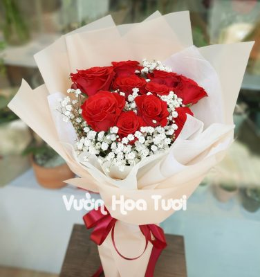 Bó hoa Hồng đỏ mix hoa bi