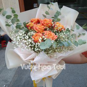 Bó hoa hồng Cam party mix hoa bi