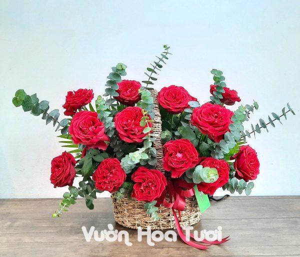 Giỏ hoa sinh nhật hồng Ohara đỏ