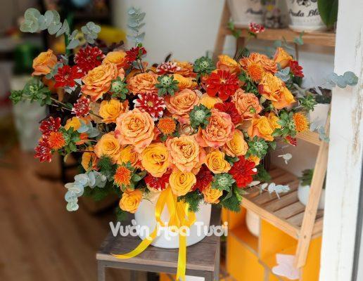 Lẵng hoa hồng Cam Party