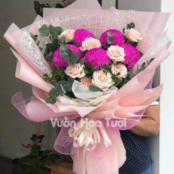 Bó hoa cúc mẫu đơn phối hoa hồng