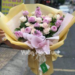 Bó hoa hồng dâu mix hoa cúc Ping Pong