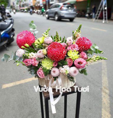 Giỏ hoa Cúc mẫu đơn và Ping Pong