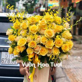 Lẵng hoa Hồng Vàng