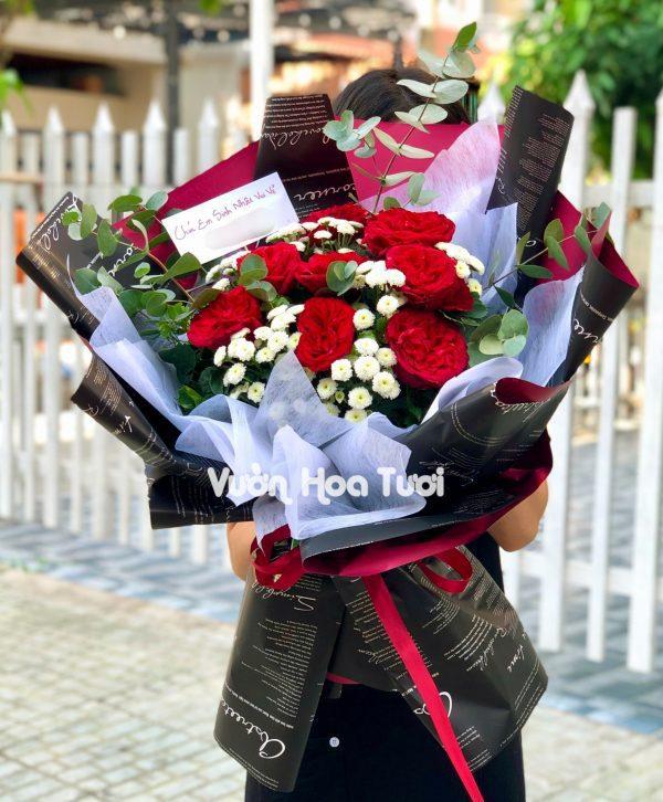 Bó hoa hồng Ohara đỏ mix calimero trắng