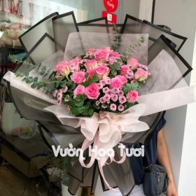 Bó hoa hồng cánh sen