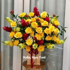 Lẵng hoa Hồng Vàng Ánh Kim