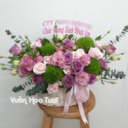 Giỏ hoa sinh nhật Hồng Tím-GHT28